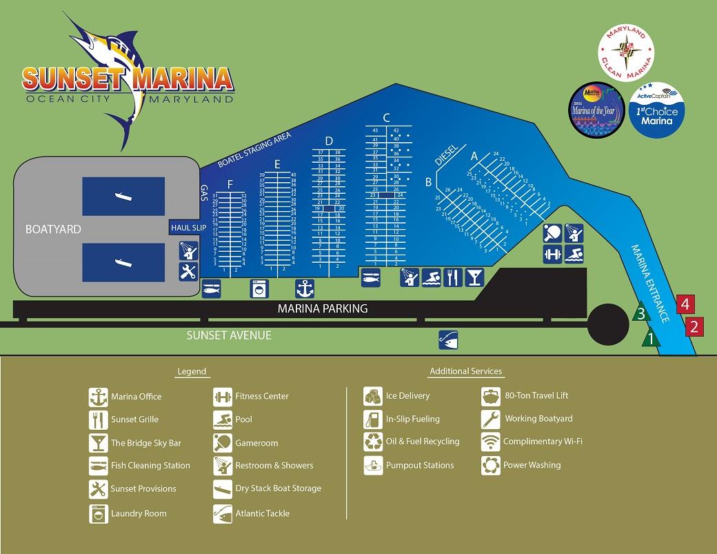 OC Sunset Marina Slips Map