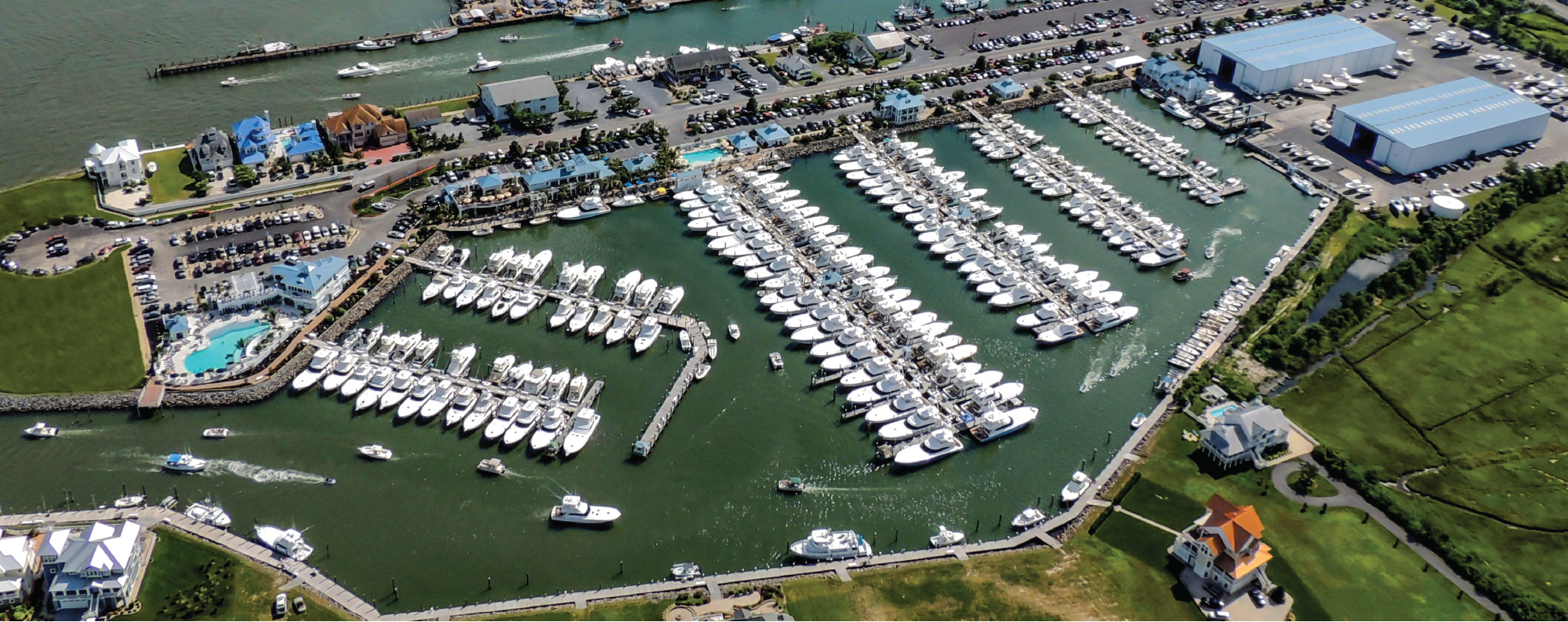 Aerial View of Sunset Marina, Ocean City MD