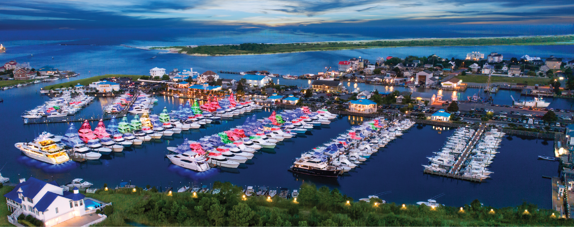 Aerial view of Sunset Marina at Dusk